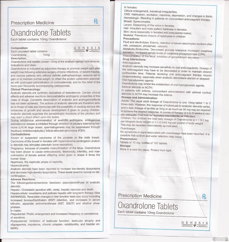 Oxandrolone Tablets genesis инструкция (вкладыш)