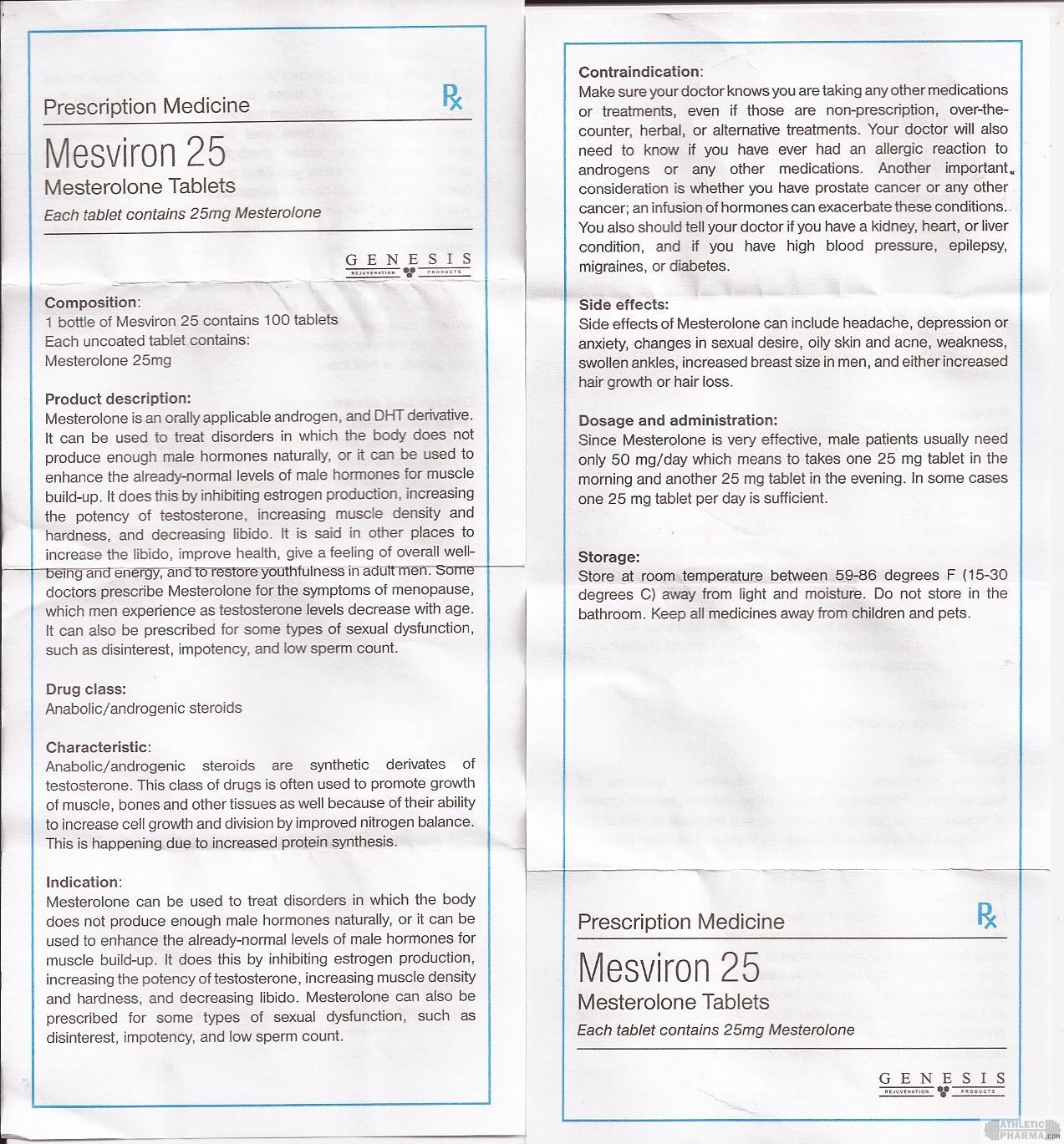 Mesviron 25 genesis инструкция (вкладыш)